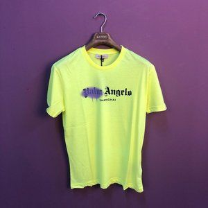 Palm Angels Men Neon Green Short Sleeve T-Shirt